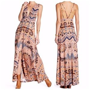 Free People Maxi Dress Rose Taupe Combo